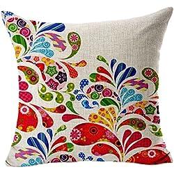 Fundas De Cojines Florales Foche Algodón Estampado De lino Sofá Vintage almohada (Rosa Caliente)