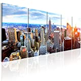 murando - Bilder New York 200x80 cm - Leinwandbilder - Fertig Aufgespannt - 5 Teilig - Wandbilder XXL - Kunstdrucke - Wandbild - Skyline NYC Stadt City d-B-0188-b-n