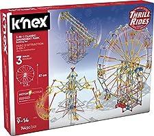 K'Nex Knex Thrill Rides 3 en 1 Parque Atracciones: Noria + Sillas Voladoras + Péndulo 744 Piezas (Fábrica de Juguetes 41230)