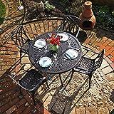 Lazy Susan - Table ronde 120 cm ALICE et 4 chaises de jardin - Salon de jardin en aluminium moulé, coloris Bronze ancien (chaises APRIL)