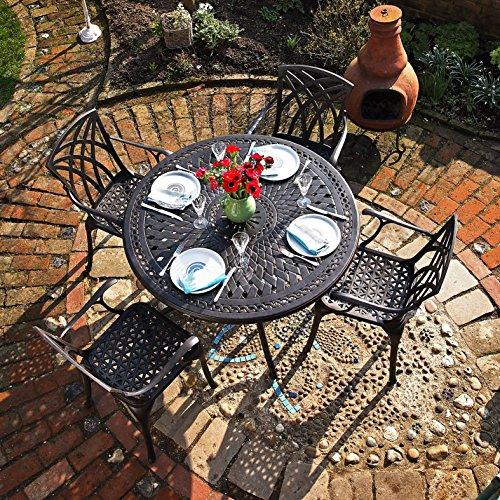 Alice 120cm Rundes Aluminium Gartenmöbelset - 1 ALICE Tisch + 4 APRIL Stühle
