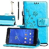 Funda Sony Xperia Z3 Compact/Z3 Mini, EUGO Funda Cuero Resistente, Soporte Plegable, Ranuras para Tarjetas y Billetes, Estilo Libro, Acceso a Botones + 1 × Negro Stylus Pen + 1 x Pen Enchufe del Polvo - Azul