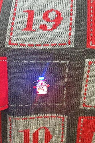Threadbare Pull de Noël en tricot Motif calendrier de l'Avent en relief Unisexe Bleu marine Advent Xmas - Charcoal Grey