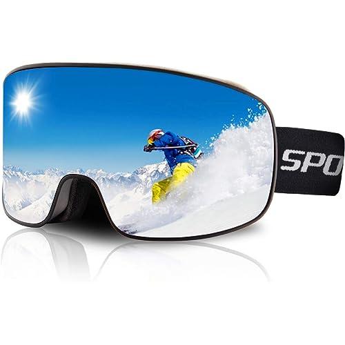 DUDUKING Occhiali da Sci per Uomo Donna Teenager OTG Maschere Sci Compatibile con Casco, Anti Nebbia Anti-UV Maschera Sci Adatto a Snowboard,Motocross e Altri Sport Invernali