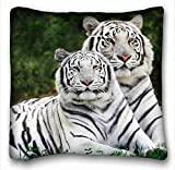 Custom Characteristic ( Animals white bengal tigers lie downs striped big cats couple ) Pillowcase Standard Size 16
