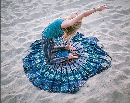 RAJRANG Indiana Mandala Rotonda Roundie Beach Buttare Arazzo Hippy Boho Gypsy Tovaglia in Cotone Telo Yoga Rotonda Tappeto Blu