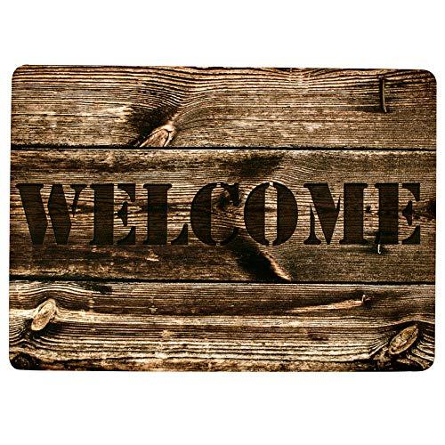 Stilingo Fußmatte Haustür außen und innen Schmutzabstreifer Tür-Matte Fussmatte mit Spruch Welcome Fußabtreter Innenbereich Türvorleger drinnen und draußen Fußmatte Holzoptik