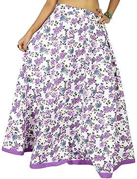 La falda larga de la impresión floral de la manera de las mujeres Maxi Blanco Hippie Beach Wear de encaje