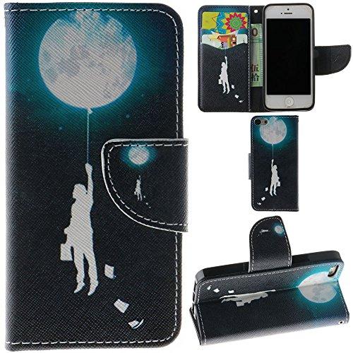 Ooboom® iPhone 5SE Coque PU Cuir Flip Housse Étui Cover Case Wallet Portefeuille Fonction Support avec Porte-cartes pour iPhone 5SE - Violet Fleur Humaine Lune