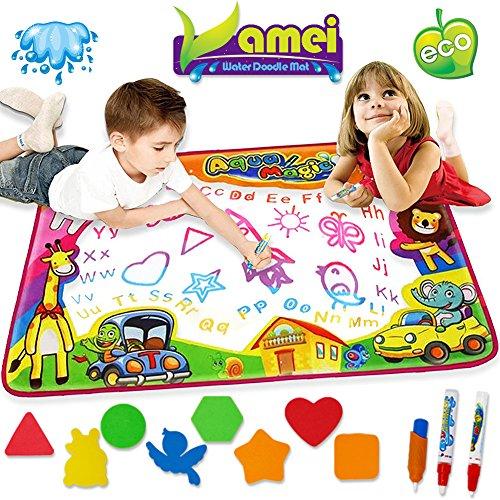 VAMEI Wasser-Gekritzel-Matten 86 x 57cm magisches Mehrfarbenwasser-Aqua-Zeichnungs-Matten-Auflage stellte mit 3 Wasser-Stiften und 8 Formen für Jungen-Mädchen-gelegentliche Farbe EIN