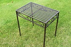 Table d'appoint ou support de plante métallique style Versailles, finition bronze antique (grande taille) - Idéal pour la maison ou le jardin