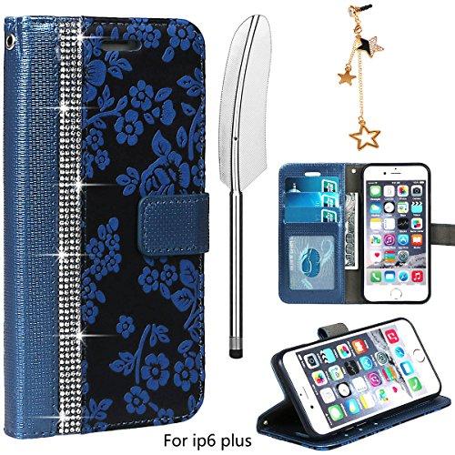 xhorizon Luxus Bling Strass Diamanten Handy Schutzhülle mit Blumentextur aus PU-Leder, Umklappbare Brieftasche-Schutzhülle mit Kartensteckplätzen für iPhone 6 Plus / iPhone 6S Plus (Stift in Feder Sti Blau