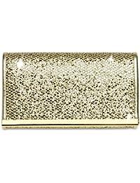 CASPAR TA344 Clutch à paillettes pour femme élégante - Petite pochette de soirée - Sac à main avec décor barre métallique