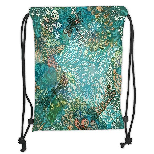 Fashion Printed Drawstring Backpacks Bags,Dragonfly,Fantasy Flowers Mixed in Various Tones Shabby Chic Feminine Beauty Print Decorative,Turquoise Amber Soft Satin,5 Liter Capacity,Adjustable Strin -