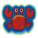 ustide Crab Teppich blau Handarbeit Badteppich Süße Tier Teppiche für Kinder Waschbar, rutschhemmenden Boden Teppich WC/Foyer Matten klein