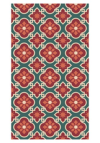 Huella deco Empreinte Deco Tapis plaqué en Vinyle Rouge/Vert 70 x 40 cm