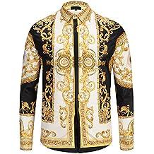 Fragranza della casa Versace. Pizoff Camicia Lussuosa Stampa Barocco  Elegante Uomo a Maniche Lunghe 9b09d5edf7a0