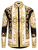 PIZOFF Herren Luxus Palace Still Fashion Hemden mit Pflanze Blumen Medusa Y1792-29-XXL