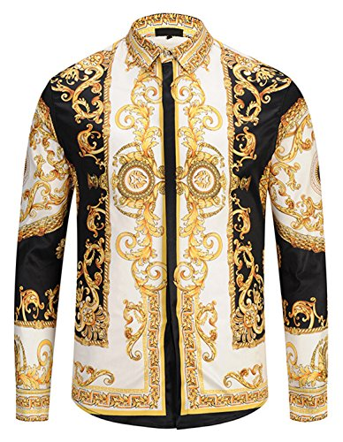 Pizoff Herren Luxus Langarm Hemden mit Baroque-Motiven,Y1792-29,Large
