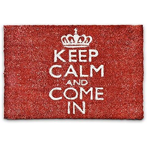 Relaxdays – Felpudo Keep Calm and Come In para la entrada de su hogar hecho de fibras de coco y PVC con medidas 40 x 60 cm antideslizante elemento decorativo, color