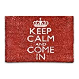 Relaxdays 10016779 Zerbino per Ingresso con Motivo Decorativo, in Fibra di Cocco, con Base Antiscivolo, Motivo 'Keep Calm And Come In', 60 X 40 X 1.5 cm, Rosso