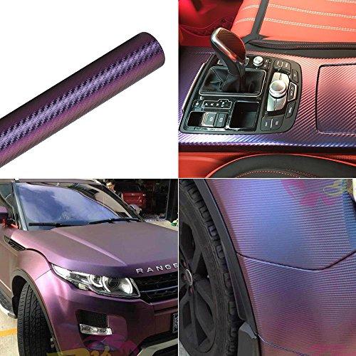 Violett und Blau Auto Chameleon Wrap Auto Carbon Faser Wrapping Folie Fahrzeug Farbe ändern Aufkleber Rolle Motorrad Dekorbogen Tint Vinyl Air Bubble frei -