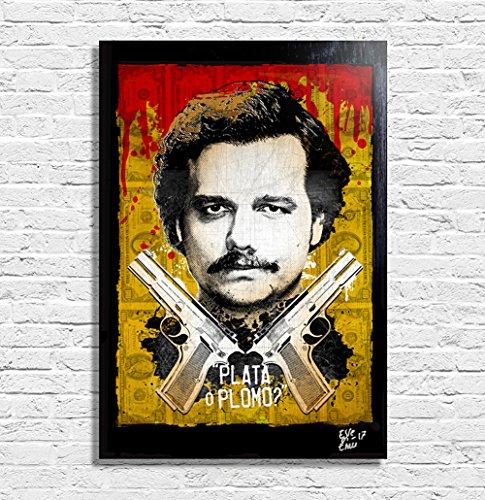 Pablo Escobar de la serie televisiva Narcos - Pintura Enmarcado Original, Imagen Pop-Art, Impresión Póster, Impresion en Lienzo, Cuadro, Cómics, Cartel de la Película