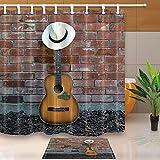 GzHQ Western Cowboy Music Gitarre Badvorhang, Panamahut auf Gitarre lehnt Sich an Mauer, 180,9 x 180,3 cm, schimmelresistenter Stoff, mit 39,7 x 59,6 cm Flanell-Fußmatte Badteppich
