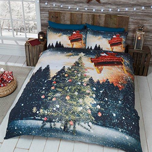 Just contempo set copripiumino natalizio con stampe di animali, in poliestere e cotone, blue lights, doppio