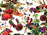Vögel und Blumen Print Micro Satin Kleid Stoff, Meterware,