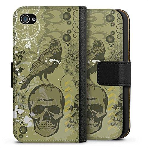 Apple iPhone X Silikon Hülle Case Schutzhülle Rabe Totenkopf Skull Sideflip Tasche schwarz