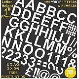 Profi-Pack von 122PCS X 2,5cm (2,5cm) selbstklebend weiß Buchstaben & Zahlen Aufkleber gratis Interpunktion waschfest, große Beschriftung gebärdenschrift Wasser Proof jedes Projekt