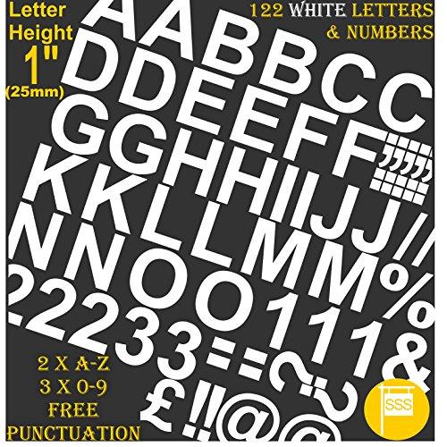 Profi-Pack von 122PCS X 2,5cm (2,5cm) selbstklebend weiß Buchstaben & Zahlen Aufkleber gratis Interpunktion waschfest, große Beschriftung gebärdenschrift Wasser Proof jedes Projekt Windows-buchstaben-aufkleber