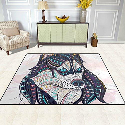 Deyya zona moderna tappeto tappeti etnici lupo antiscivolo tappetino zerbini per soggiorno es da letto 80 x 58 pollici multi