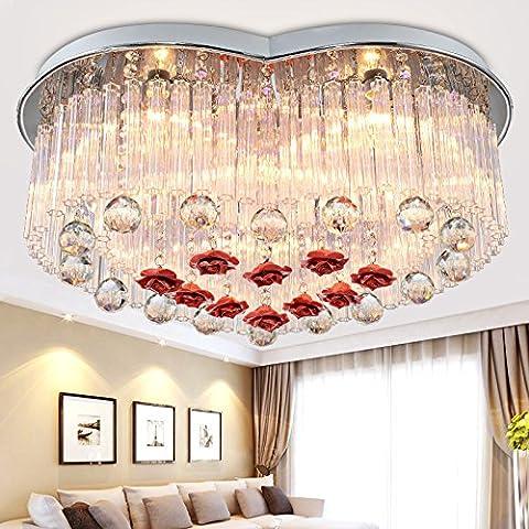 mariposa Iluminación forma en forma de corazón de la lámpara romántica de estilo europeo de la lámpara del dormitorio de techo de cristal llevado ronda salón restaurante luces en forma de corazón de energía 220v 20-30w , heart-shaped , 58*30cm