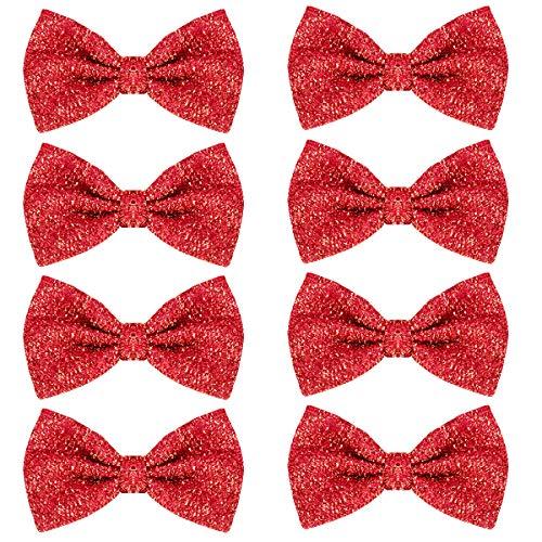 Pailletten Fliege Schleife 8 Pack Glitzer Fliege Vorgebunden, 7 x 12cm Einstellbare Fliege Eine Grösse passt Allen Bow Tie, Herren Damen Kinder Fliege für Fancy Kostüm Party Zubehör (Red)