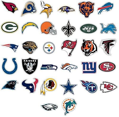 A & A Global Industries NFL Aufkleber Aufkleber Football Team Logo Lizenzprodukt Komplett-Set Alle 32Teams