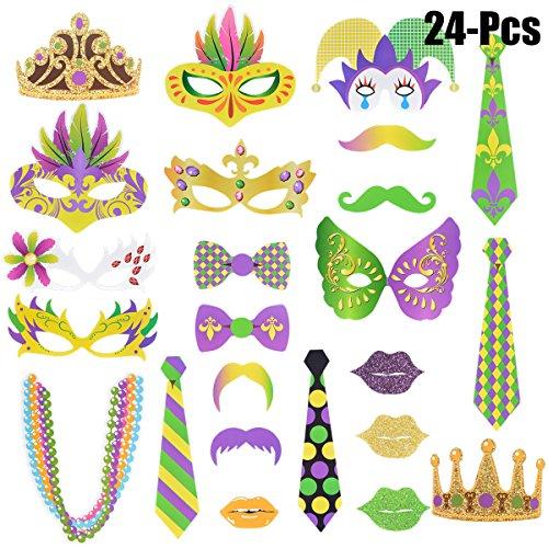 Funpa 24Pcs Photo Booth Prop, Lustige Maske Krone Krawatte Bart Foto Prop Kit Party Foto Prop FüR Mardi Gras