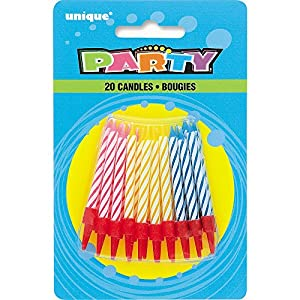 Unique Party Paquete de 20 Velas de cumpleaños y portavelas, Multicolor (1915C) , Modelos/colores Surtidos, 1 Unidad