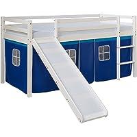 Homestyle4u 1544, lit d'enfant 90x200 Blanc, lit Mezzanine avec Toboggan Bleu Rideau, Bois Pin