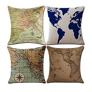 2pieza decorativa almohada funda de cojín Mapa del Mundo Lino Espacio almohada fundas de cojín (para Auto, sofá, Hogar 45x 45cm (sin relleno) Style A
