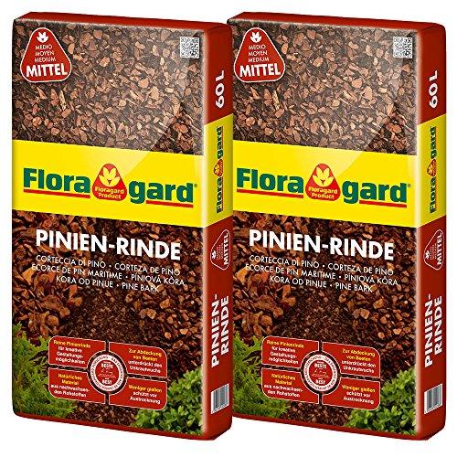 Floragard Mulch Pinienrinde 15-25 mm 2x60 L • mittel • dekorativer Bodenbelag • unterdrückt Unkrautwuchs • naturbelassen • für mediterranes Flair • 120 L