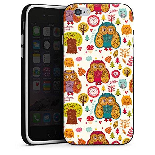 Apple iPhone 4 Housse Étui Silicone Coque Protection Hibous couleurs Forêt Housse en silicone noir / blanc