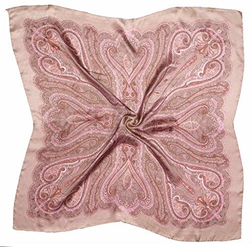 Beige Pink Paisley Printed Fine Seide Square Schal (Square Schal Paisley)