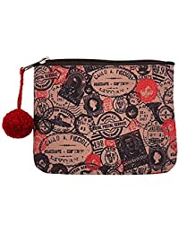The Crazy Me Multicolormake Vintage Stamps Makeup/Coin Pouch 15 By 12 Cm (Small)