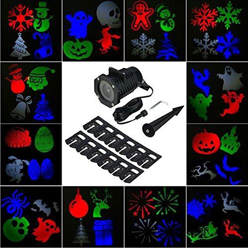 ojektionslampe Im freien wasserdicht 12 Arten von Bildern können geändert Werden Weihnachten Farbe Halloween Lichter ()