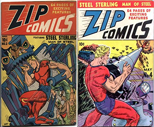 Zip Comics. Issues 3 and 4. : Starring steel sterling. Action thriller Kalthar king of the Jungle, The scarlet avenger. Capt valor. (English Edition) Scarlet Zip
