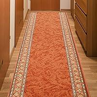 Alfombra De Pasillo Antideslizante - Color Naranja Beige De Diseño Bordura - Mejor Calidad - Diferentes Dimensiones S-XXXL 100 x 500 cm