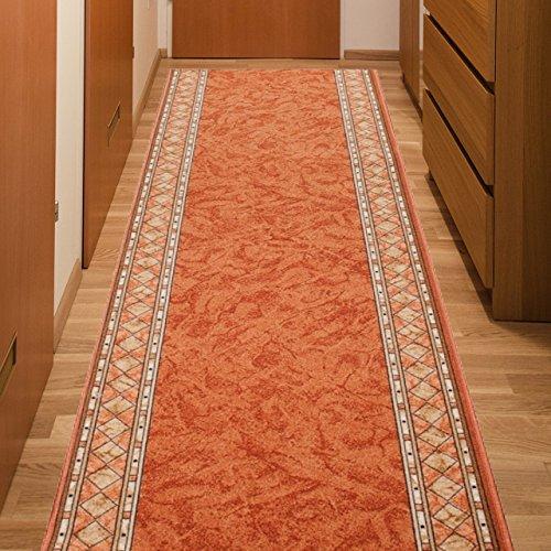 Alfombra De Pasillo Antideslizante - Color Naranja Beige De Diseño Bordura - Mejor Calidad - Diferentes Dimensiones S-XXXL 67 x 300 cm