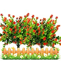 MTOYH E 5PCS Artificial Fake Flowers Bushes UV Resistant Shrubs Greenery Plants Eucalyptus Leaves Lifelike Decorative Artificial Flowers Home Wedding Garden Outdoor DIY Decor (Orange)
